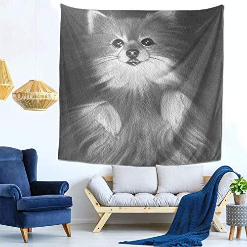 Lsjuee Grey Dog Tapestry Wall Hanging Home Decor Fan Art per Camera da letto Soggiorno Dormitorio