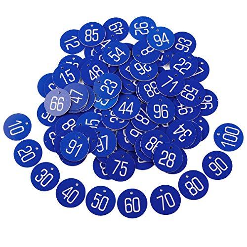Anladia 1 bis 100 numeriert Kennzeichnungsmarken Textmarken Zahlenmarken Schlüsselmarken Blau