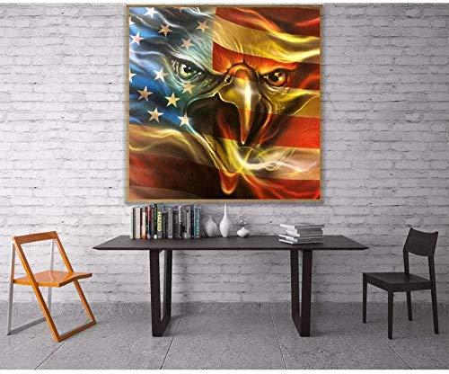 YYTTLL diamante bandera de águila americana 5D Diy pintura de diamante punto de cruz diamantes de imitación cuadrado completo mosaico de diamantes 40X50Cm