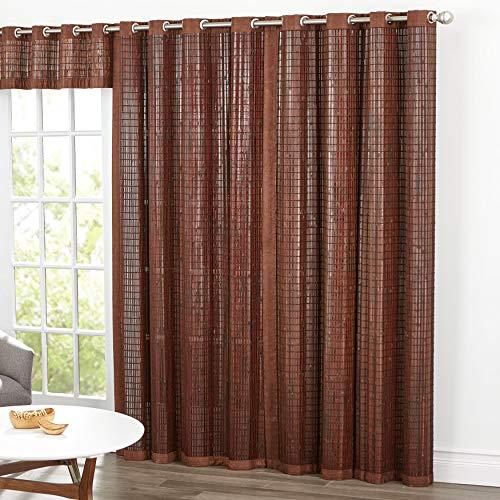 BrylaneHome Bamboo Grommet Panel Window Curtain - 42I W 84I L, Mahogany Brown