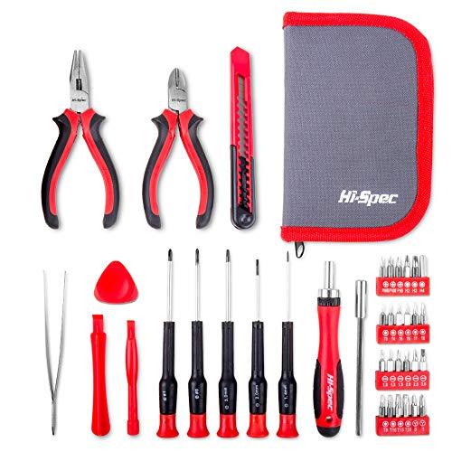Hi-Spec 38 Piece Precision Electronics Repair Tool Kit. Ratcheting Driver Handle for Phillips, Slotted, Torx, Hex & Tripoint Bits, Pliers, Wire Snips, Tweezers & Pry Bars in a Zipper Case