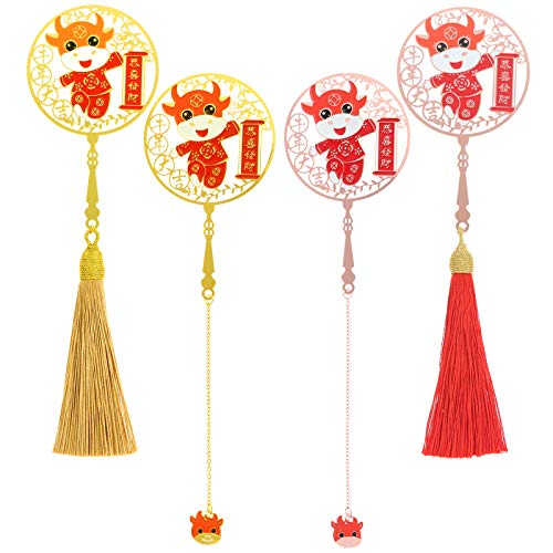 Yiphates 4Pcs/Set Chinese Metal Bookmarks with Tassel Cute Ox Pendant Metal Bookmarks Hollow Art Book Mark for Book Reading Gift, Wedding Party Favors