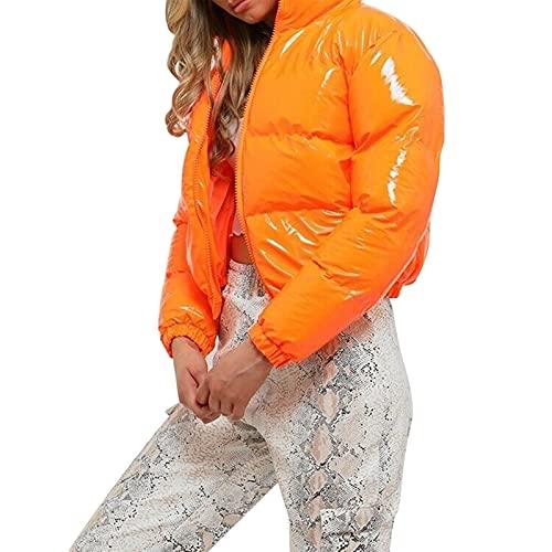 PDYLZWZY Chaqueta acolchada de invierno de manga larga con cremallera para mujer, naranja, M