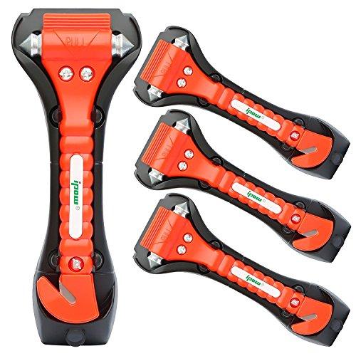 ipow 4 Stück Auto Notfallhammer, große KFZ Fenster Autoscheibe Nothammer Sicherheitshammer Rettungshammer mit Gurtschneider integriert, einfach & schnell verwendet für Auto, Bus, PKW, LKW