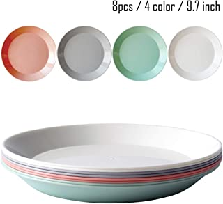 8pcs/9.7inch Dishwasher & Microwave Safe PP Plates - Lightweight & Unbreakable,Non-toxin, BPA free and Healthy for Kids Children Toddler & Adult