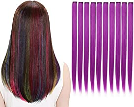 LiaSun 10Pcs/set Multi-Colors Straight Highlight Clip in Hair Extensions 20 Inch Colored Party Hair Pieces (Purple)