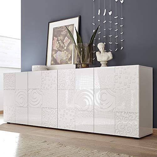 M-012 Anrichte weiß lackiert 240 cm Design Elma, 4 Türen