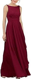 Jonlyc Women's A-Line Sleeveless Long Chiffon Bridesmaid Dress Evening Gowns