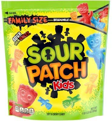 SOUR PATCH KIDS Soft Chewy Candy 1 8 Pounds Family Size Resealable Bag product image