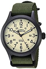 Adjustable green 20 millimeter nylon strap fits up to 8-inch wrist circumference Cream dial with date window at 3 o'clock; Full Arabic numerals Black 40 millimeter brass case with mineral glass crystal Indiglo light-up watch dial; luminous hands Wate...