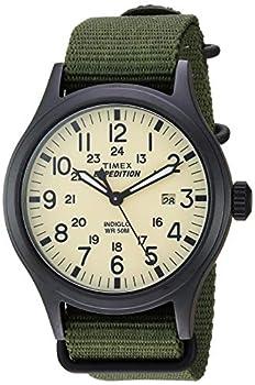 Timex Men s TW4B15500 Expedition Scout 40mm Green/Black/Cream Nylon Slip-Thru Strap Watch