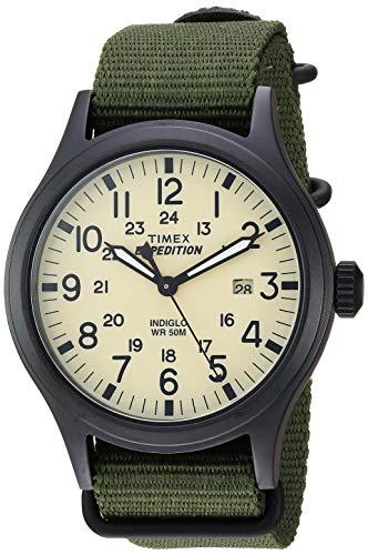 Timex Men's TW4B15500 Expedition Scout 40mm Green/Black/Cream Nylon Slip-Thru Strap Watch