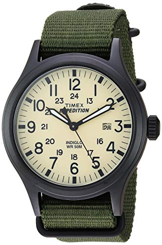 Timex Men's TW4B15500 Expedition Scout 40mm Green/Black/Cream Nylon Slip-Thru Strap Watch