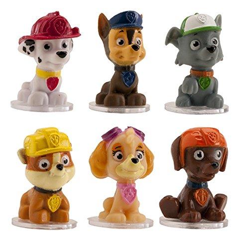 deKora Paw Patrol Tortenfiguren-Set, Kuchen Topper Set bestehend aus 6 Figuren Chase, Skye, Marshall, Rubble, Zuma und Rocky für Geburtstagstorte, 3,5 - 4 cm