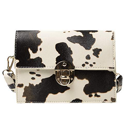 Fashion Cow Milk Pattern Crossbody Bag Women Small Casual PU Leather Shoulder Handbag Travel Messenger Pouch Satchel for Lady Girl