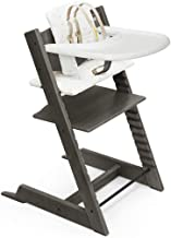 Tripp Trapp by Stokke Adjustable Wooden Hazy Grey Baby High Chair (Includes Baby Seat with Harness, Icon Multi Cushion and...