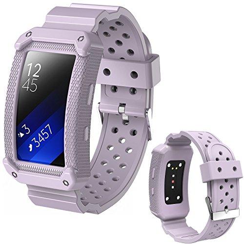 X4-TECH - Correa de silicona compatible con reloj Gear Fit2 de silicona suave, correa de elastómero de repuesto compatible con Samsung Galaxy Gear Fit 2 SM-R360 Smart Watch