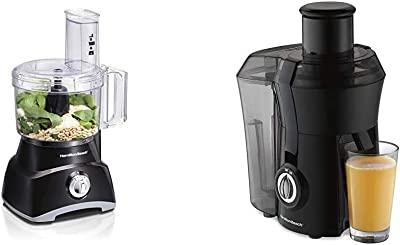"Hamilton Beach 8-Cup Compact Food Processor & Vegetable Chopper (70740) & Juicer Machine, Big Mouth 3"" Feed Chute, Centrifugal, Easy to Clean, BPA Free, 800W, (67601A), Black"