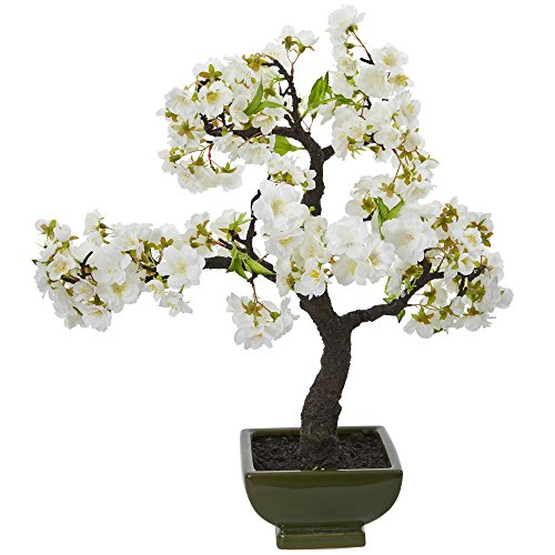 Nearly Natural Cherry Blossom Bonsai Artificial Tree, White