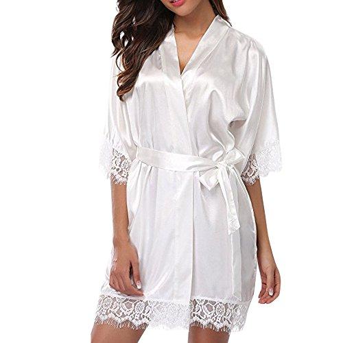Dasongff dames satijnen ochtendjas kimono knielange lange badjas pyjama negligé nachthemd nachtkleding ondergoed V-hals met riem Large wit