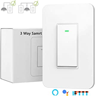3 Way Smart Wi-Fi Light Switch Plus,Individual 3 Way Switch(only one needed) /Single Pole Switch,Works With Amazon Alexa Google Assistant & IFTTT,Remote Control Timing Function No Hub Required(1-Pack)