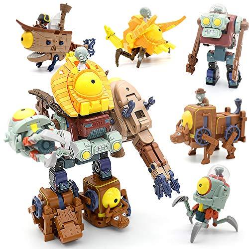 5 en 1 Plants Vs Zombies Assembly Deformation Zombie Boss Robot Doll PVZ Juguetes educativos PVC Figura de acción Modelo Juguetes Kid Gift Set