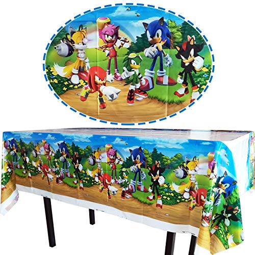 """wei mi 2pcs The New Sonic Themed Birthday Party Decorations – Disposable Sonic Plastic Tablecloth 
