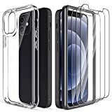 4 Pack LK 3pack Screen Protector with 1 Pack Case for iPhone 12 mini 5.4-inch, Tempered Glass, Easy Frame Installation, Case Friendly, HD Clear 9H Hardness
