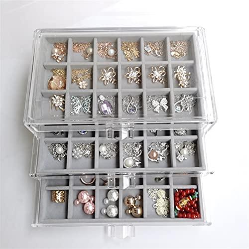 Caja de almacenamiento de joyería exquisita y duradera Caja de almacenamiento de franela de franela acrílica multi-marco de tres dibujos Collar de joyería de la caja de acabado de la caja de la caja d