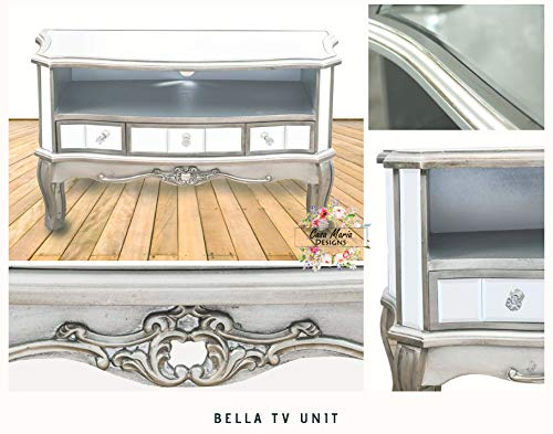 Bella Mirrored TV Unit by Casa Maria | Glass Mirror Television Media Stand with 3 Drawers Storage | Handmade French Style Shabby Chic TV Cabinet Silver Trim | Ready Assembled & Free 5 Year Warranty