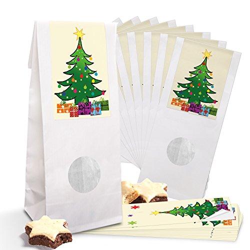 Lot de 10 petits sacs en papier blanc pour pâtisserie avec fenêtre et insert en film plastique 8 x 5 x 24,5 cm + 10 autocollants de Noël vert jaune rouge (5 x 15 cm) Arbre de Noël multicolore