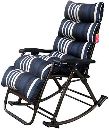 DAGCOT Lounge Chair Reclining Outdoor klapstoelen dik kussen Portable Office Lunchpauze Siesta Balkon Slaapkamer Chair Stripe Zero Gravity Chair (Color : C)