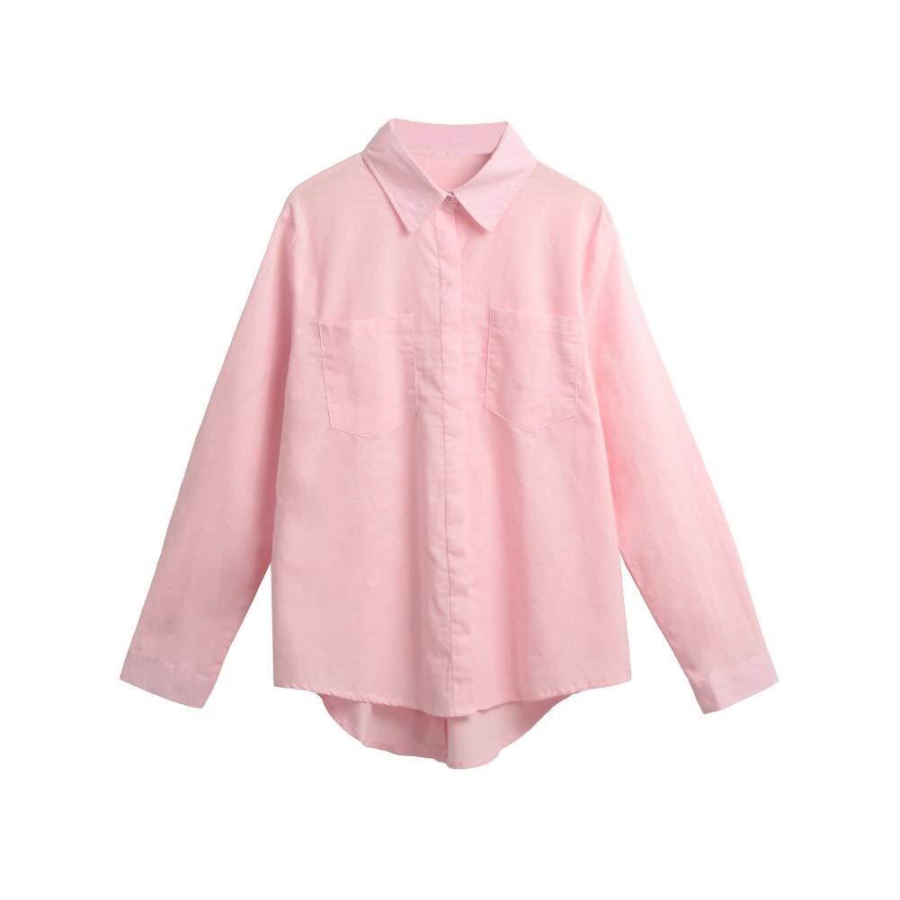 LABAICAI 5XL del tamaño Extra Grande Camisa Blanca Mujeres Sueltan de Apertura de Cama Collar de Color Rosa de Manga Larga Ocasional del Bolsillo de Blusas y Camisas de Las señoras Top: