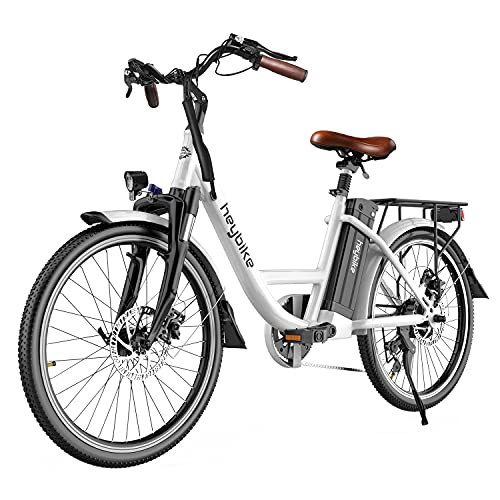 Heybike Cityscape Electric Bike 350W Electric City Cruiser Bicycle-Up to 40 Miles- Removable Battery, Shimano 7-Speed and Dual Shock Absorber, 26