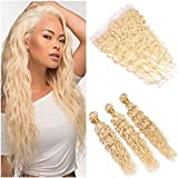 Tony Beauty Hair Wet and Wavy Virgin Brazilian Blonde Human Hair Bundles 3Pcs with Frontal Closure #613 Blonde Virgin Hair Weaves Wefts Water Wave with 13x4 Full Lace Frontal (14 16 18+14)