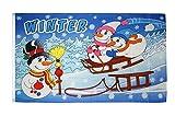 Fahne / Flagge Winter mit Schneemann + gratis Sticker, Flaggenfritze®