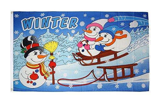 Flaggenfritze Fahne/Flagge Winter mit Schneemann + gratis Sticker