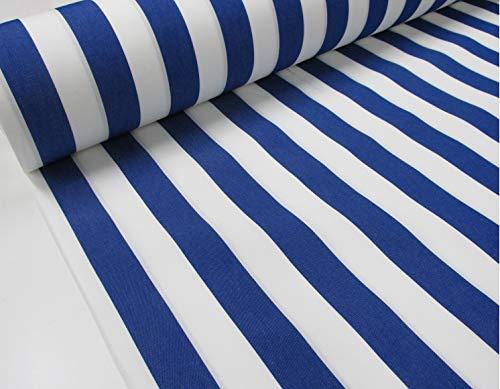 Confección Saymi Metraje 0,50 MTS. Tejido Lona acrílica, Raya Azul, con Ancho 3,20 MTS.