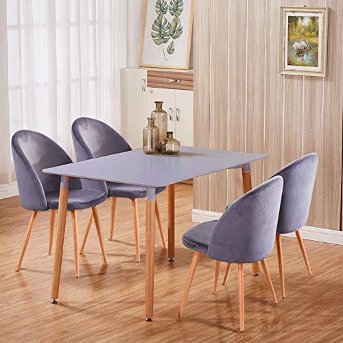 GOLDFAN Rechteckiger Esstisch aus Holz und 4 Stühlen, Küchentisch-Set, modernes Esszimmer-Set (grau, 4)