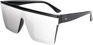 FEISEDY Oversize Flat Top Gafas de sol con Lentes Siameses de Moda Mujeres Hombres Estilo cuadrado sucinto UV400 Gafas sin...