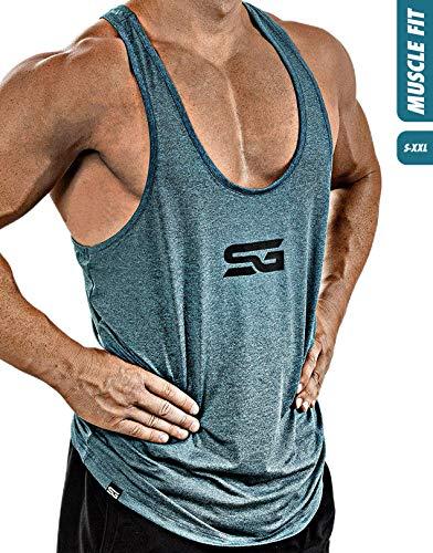 Satire Gym Fitness Stringer Herren - Funktionelle Sport Bekleidung - Geeignet Für Workout, Training - Tank Top (Petrol meliert, L)