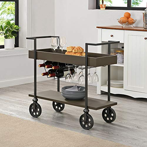 FirsTime & Co. Espresso Factory Row Industrial Farmhouse Bar Cart, American Designed, Espresso, 29.75 x 14.25 x 32.75 inches