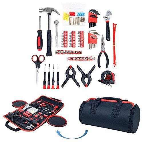 Haushalt Werkzeug Set, 86-teiliges mit Rolltasche, Trimate(Hammer, Schlüssel Set, Schraubendreher, Zange) – tolle für das Haus oder Auto (Rot)