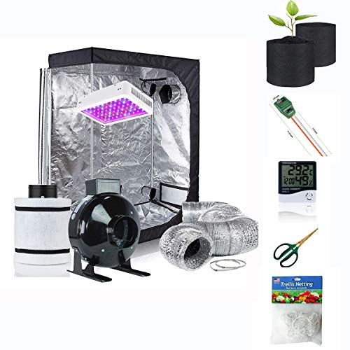 "Supergrower Indoor Grow Tent + 600W LED Full Spectrum Grow Light Complete Kits for Indoor Plants 4 Inch Fan and Filter Ventilation System Inlcuded (4"" Fan Filter+600W LED Light+Grow Tent 48""X24""X60"")"