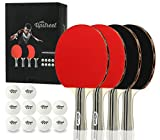 Upstreet Ping Pong Paddle Set Includes 4 Ping Pong Paddles with 3 Star Ping Pong...