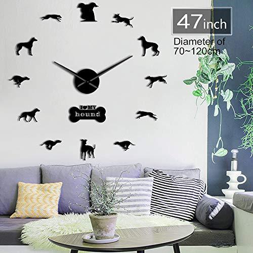 GUDOJK Perro Galgo Adopción Perro Arte de laParedDIYReloj de Pared Galgo Hogar Perro DecoraciónPerro Carrera Reloj de Pared Exclusivo Amantes del Perro 37inch