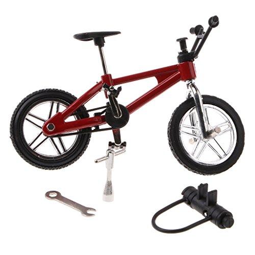 SM SunniMix Aleación De Dedo Modelo De Bicicleta Mini MTB BMX Fixie Bike Boys Toy W / Spare Tire Lock - Rojo, 1 Pieza