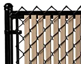 Tube Slats Privacy Inserts for Chain-Link Fence, Double-Wall Vertical Bottom-Locking Slats for 6' Fence Height (Beige)