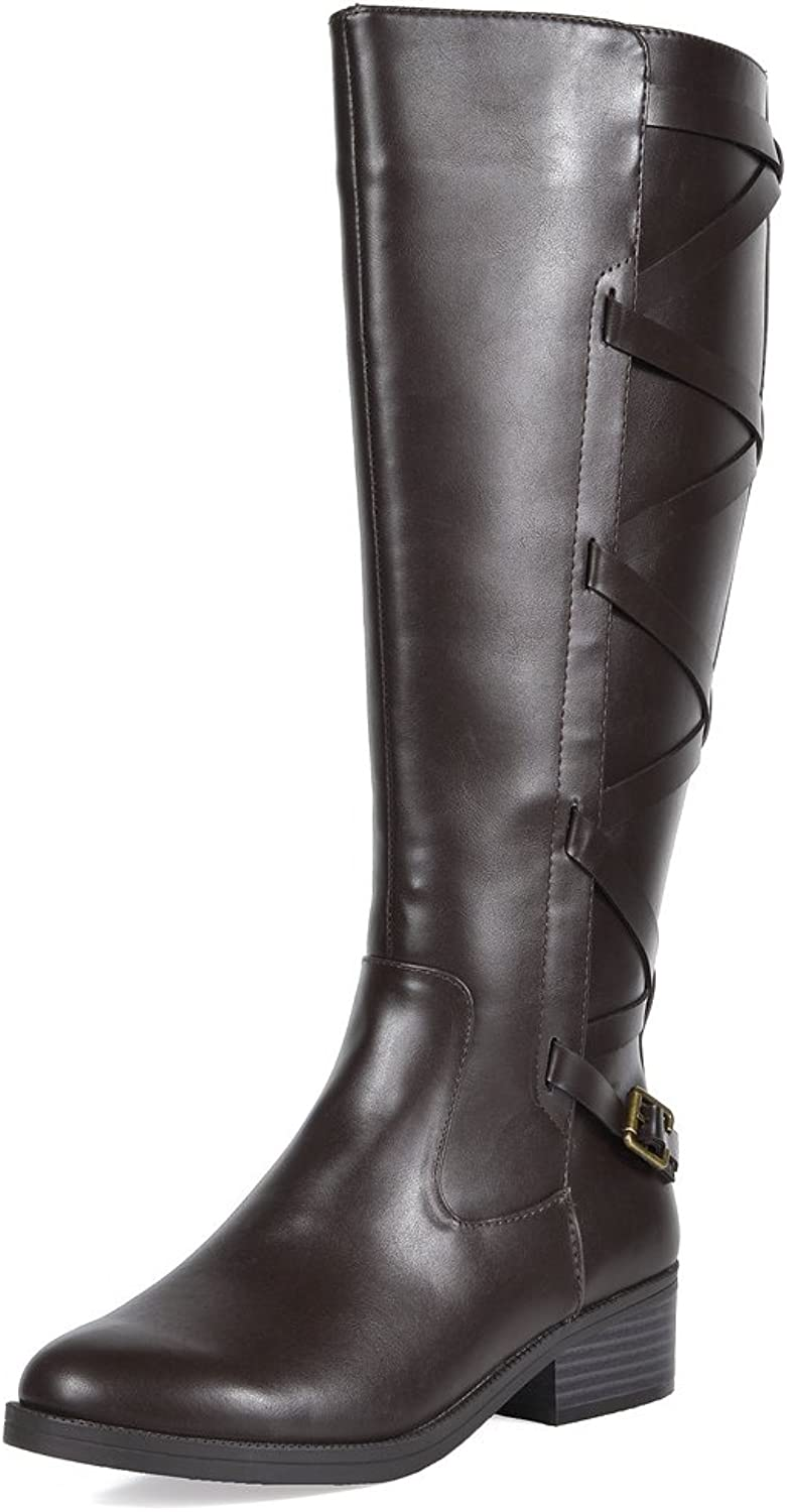TOETOS Women's Ankor Brown Knee High Riding Boots Wide Calf Size 7.5 M US