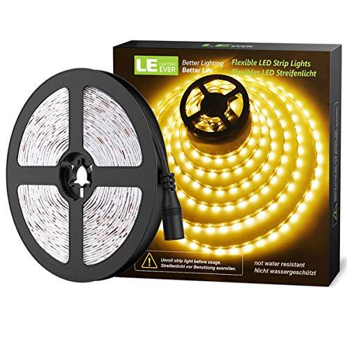 LE Striscia LED 5m 300 LED 2835, 18W 1200lm Luce Nastro Luminoso Bianco Caldo 3000K, Strisce LED 12V per Decorazione e Illuminazione Domestica, Magazzino, Negozio, ecc